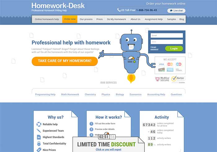 Homework-desk.com preview